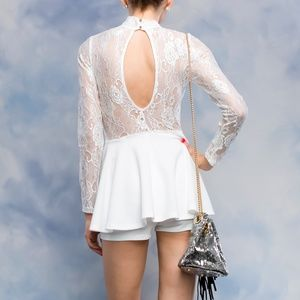 7d42bef09ff3 Pants - Lace Long Sleeve With High Neck White Flare Romper